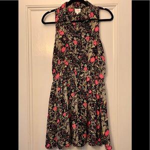 Parker Sleeveless Floral Button-front Collar Dress